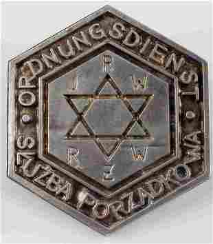 WWII GERMAN THIRD REICH JEWISH GHETTO POLICE BADGE