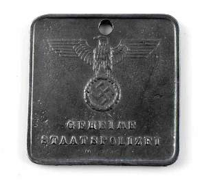 WWII GERMAN SECRET STATE POLICE INSPECTION ID TAG