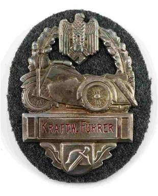 WWII GERMAN ARMY MILITARY BIKERS AWARD SHIELD