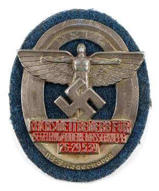 WWII GERMAN 1939 GLIDER KORPS NSFK SHIELD BADGE