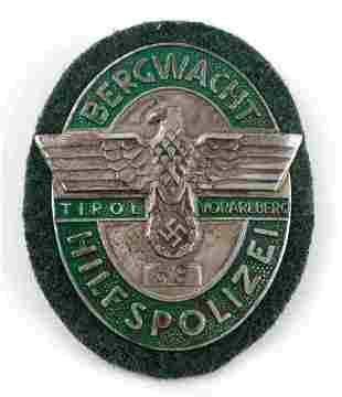 WWII GERMAN 3RD REICH TIROL MOUNTAIN POLICE BADGE