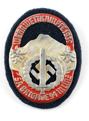 WWII GERMAN THIRD REICH SA MOUNTAIN TROOPS SHIELD