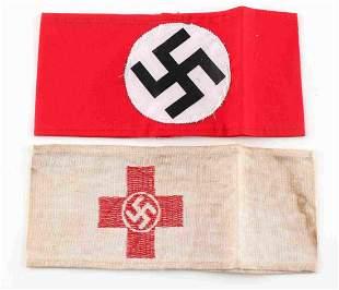 WWII GERMAN THIRD REICH NSDAP & RED CROSS ARMBANDS