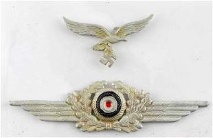 WWII GERMAN LUFTWAFFE OFFICERS HAT INSIGNIA