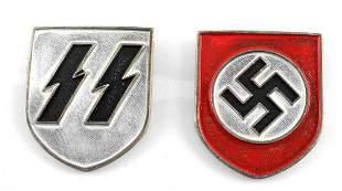 WWII GERMAN SET OF 2 WAFFEN SS PITH HELMET SHIELDS