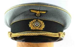WWII GERMAN THIRD REICH HEER OFFICERS VISOR HAT