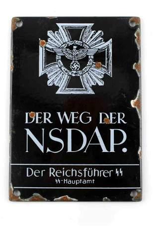 WWII GERMAN THIRD REICH PROPAGANDA STREET SIGN