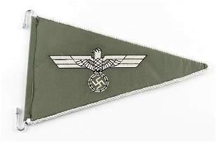 WWII GERMAN THIRD REICH ARMY PENNANT CAR FLAG