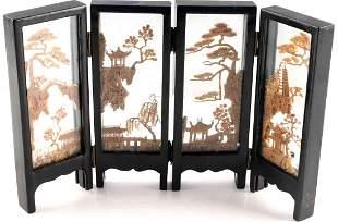 ANTIQUE JAPANESE WOODEN ART INSIDE GLASS SHOJI