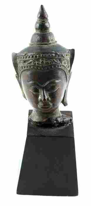 ANTIQUE 6.75 INCH TIBETAN BUDDHA BUST W WOOD BASE