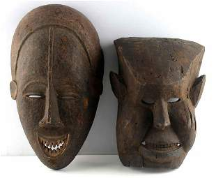 LOT OF 2 HAND CARVED WOODEN MASKS AFRICAN & OTHER