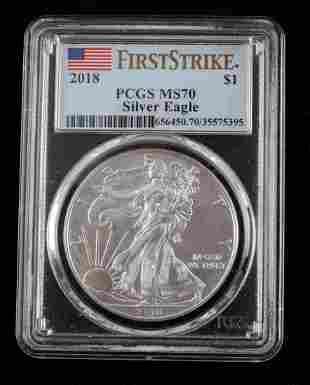 2018 1 OZ SILVER EAGLE FIRST STRIKE PCGS MS70