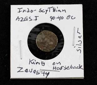 INDO SCYTHIAN AZESI ANCIENT SILVER COIN AR DRACHM
