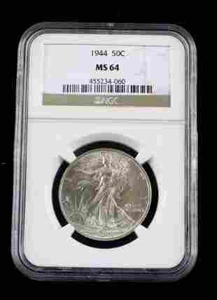 1944 SILVER WALKING LIBERTY HALF DOLLAR COIN MS64