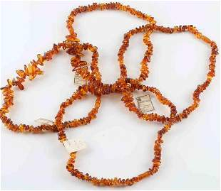 LOT 4 VINTAGE RUSSIAN BALTIC AMBER BEAD NECKLACES