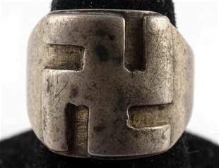 GERMAN WWII THIRD REICH NSDAP SWASTIKA SILVER RING