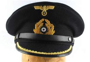 WWII GERMAN KRIEGSMARINE OFFICERS VISOR CAP