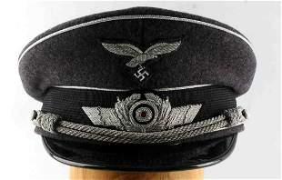 WWII GERMAN 3RD REICH LUFTWAFFE OFFICER VISOR CAP