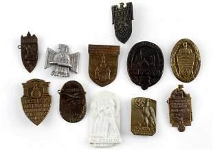 11 WWII GERMAN THIRD REICH TINNIE LOT NSDAP NSKK