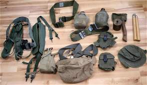 WWII US MILITARY ASSORTED GEAR LOT CANTEEN BELTS