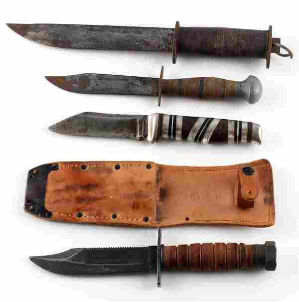 WWII US MILITARY ARMY FIGHTING KNIFE LOT OF 4
