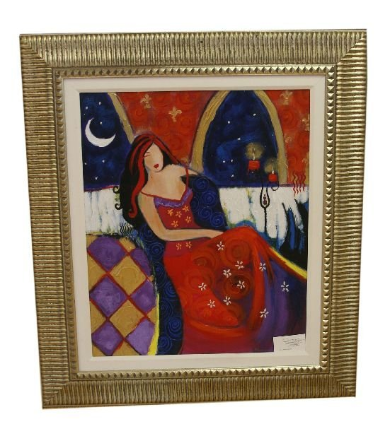 DAME EN ROUGE SONIA DEL SIGNORE GICLEE ON CANVAS