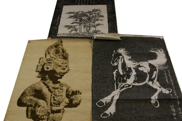 ASIAN TREE BUST & HORSE PRINT COLLECTION OF 3