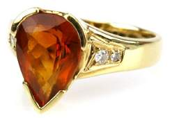 H STERN 18K GOLD ORANGE TOURMALINE  DIAMOND RING