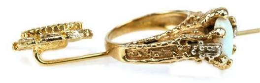 14K YELLOW GOLD  OPAL HAT PIN  RING SET