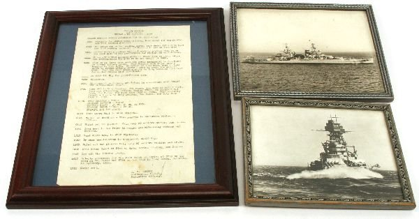 USS ARIZONA DAY ORDERS AND PHOTOGRAPHS