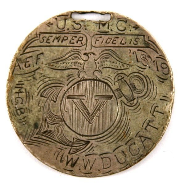 UNIQUE WWI USMC MGB COIN WATCH FOB MEDAL
