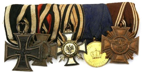 GERMAN MEDAL GROUP OF 5 - PRUSSIAN - WW2