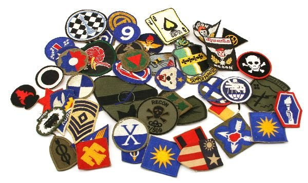 MIXED LOT OF WWII to VIETNAM ERA MILITARY PATCHES