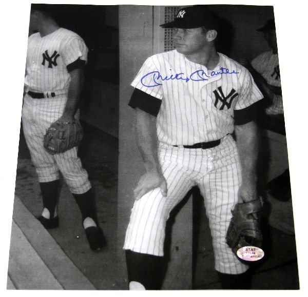 AUTOGRAPHED 8X10 MICKEY MANTLE DUGOUT PHOTO