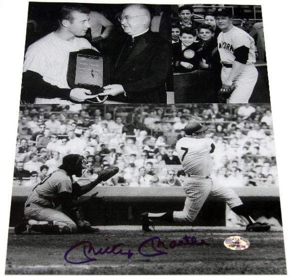 AUTOGRAPHED MICKEY MANTLE TRIPLE PHOTO