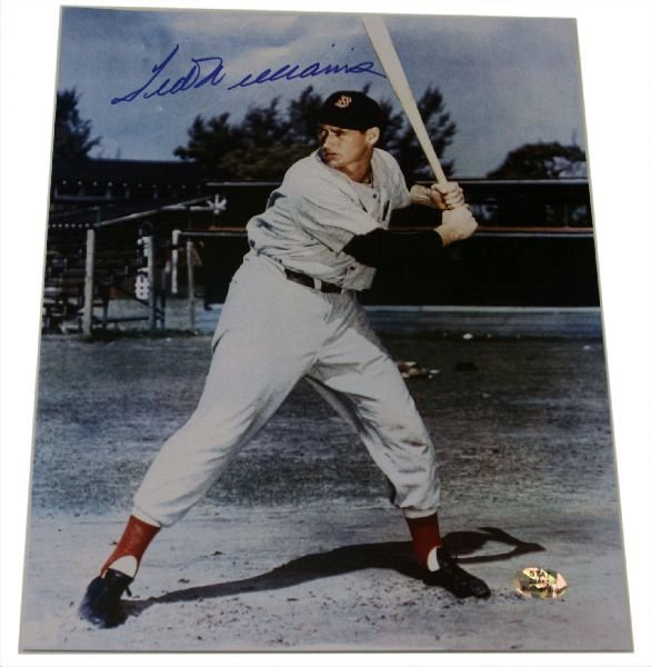 TED WILLIAMS 8X10 COLOUR PHOTO WITH AUTOGRAPH