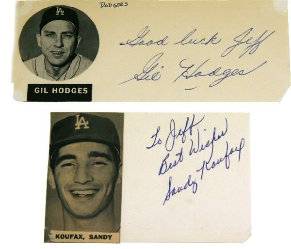 2 LOT LA SANDY KOUFAX GIL HODGES AUTOGRAPHS