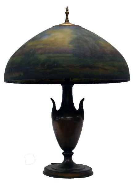 JEFFERSON REVERSE PAINTED LAMP SHADE PAIRPOINT BASE