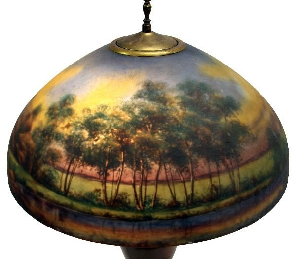 JEFFERSON REVERSE PAINTED LAMP SHADE PAIRPOINT BASE - 2