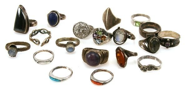 LARGE STERLING SILVER JEWELRY RING LOT OF 19