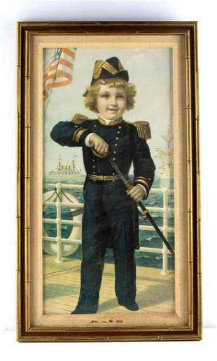 ANTIQUE LITHOGRAPH BOY DRAWING SWORD IN UNIFORM