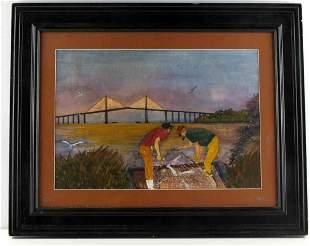 JERRY WHITSON WATERCOLOR FISHING BRIDGE PAINTING