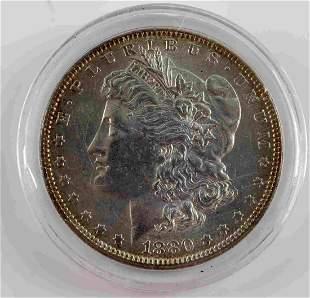 1880 O MORGAN SILVER DOLLAR AU W TONING