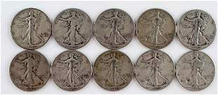 SILVER WALKING LIBERTY HALF DOLLAR COINS $5 FACE