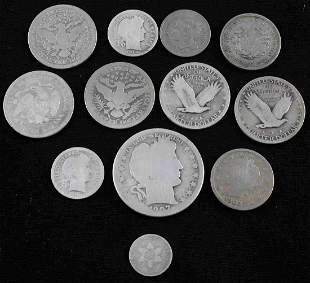 US SILVER COIN BARBER V NICKEL QUARTER CENT LOT