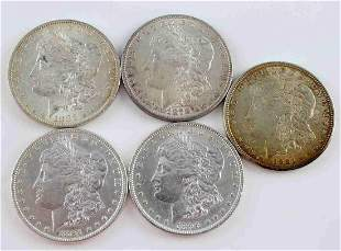 US MORGAN SILVER DOLLAR AU TO MS COIN LOT OF 5