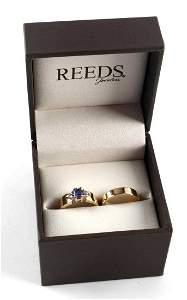 14 KT GOLD TANZANITE ENGAGEMENT WEDDING RING SET