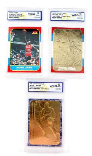 3 WCG GRADED FLEER MICHAEL JORDAN BASKETBALL CARDS