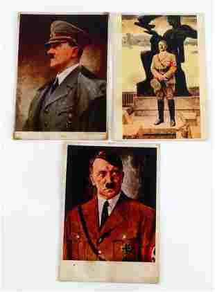 LOT OF 3 WWII THIRD REICH ADOLF HITLER POSTCARDS