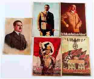 5 WWII THIRD REICH SS SA ADOLF HITLER POSTCARDS